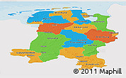Political Panoramic Map of Weser-Ems, single color outside