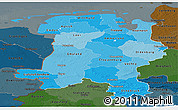 Political Shades Panoramic Map of Weser-Ems, darken
