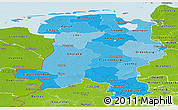 Political Shades Panoramic Map of Weser-Ems, physical outside