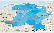 Political Shades Panoramic Map of Weser-Ems, shaded relief outside