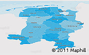 Political Shades Panoramic Map of Weser-Ems, single color outside