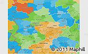 Political 3D Map of Nordrhein-Westfalen