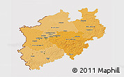 Political Shades 3D Map of Nordrhein-Westfalen, cropped outside