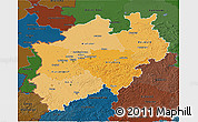 Political Shades 3D Map of Nordrhein-Westfalen, darken