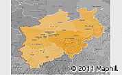 Political Shades 3D Map of Nordrhein-Westfalen, desaturated
