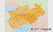 Political Shades 3D Map of Nordrhein-Westfalen, lighten