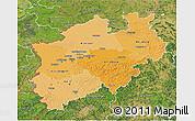 Political Shades 3D Map of Nordrhein-Westfalen, satellite outside