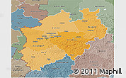 Political Shades 3D Map of Nordrhein-Westfalen, semi-desaturated