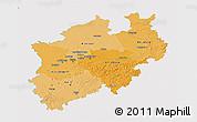 Political Shades 3D Map of Nordrhein-Westfalen, single color outside