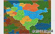 Political 3D Map of Arnsberg, darken