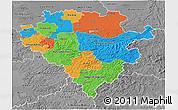 Political 3D Map of Arnsberg, desaturated
