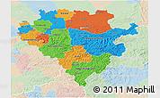 Political 3D Map of Arnsberg, lighten