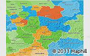 Political 3D Map of Arnsberg, political shades outside