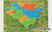 Political 3D Map of Arnsberg, satellite outside
