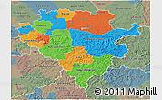 Political 3D Map of Arnsberg, semi-desaturated