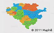 Political 3D Map of Arnsberg, single color outside