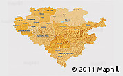 Political Shades 3D Map of Arnsberg, cropped outside