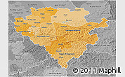 Political Shades 3D Map of Arnsberg, desaturated