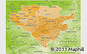 Political Shades 3D Map of Arnsberg, physical outside