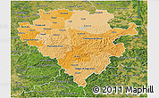 Political Shades 3D Map of Arnsberg, satellite outside