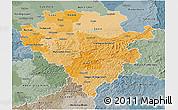 Political Shades 3D Map of Arnsberg, semi-desaturated