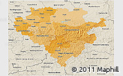Political Shades 3D Map of Arnsberg, shaded relief outside