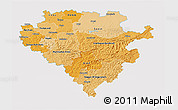Political Shades 3D Map of Arnsberg, single color outside