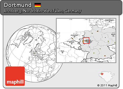 Free Blank Location Map of Dortmund highlighted country