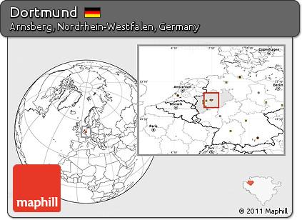 Free Blank Location Map of Dortmund highlighted grandparent region