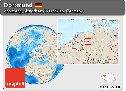 Dortmund On Map Of Germany.Free Shaded Relief Location Map Of Dortmund