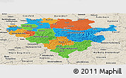 Political Panoramic Map of Arnsberg, shaded relief outside