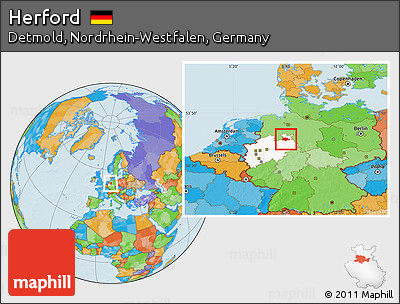 free political location map of herford highlighted grandparent region. Black Bedroom Furniture Sets. Home Design Ideas