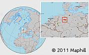 Gray Location Map of Minden-Lübbecke