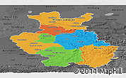 Political Panoramic Map of Detmold, darken, desaturated