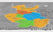Political Panoramic Map of Detmold, desaturated