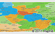 Political Panoramic Map of Detmold, political shades outside