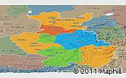 Political Panoramic Map of Detmold, semi-desaturated