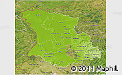 Physical 3D Map of Düsseldorf, satellite outside