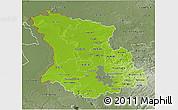 Physical 3D Map of Düsseldorf, semi-desaturated