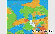 Political 3D Map of Düsseldorf