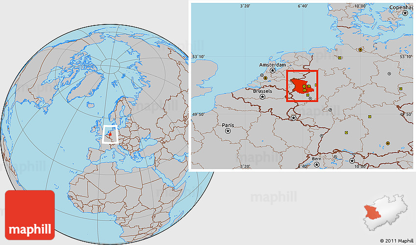 Map Of Germany Showing Dusseldorf.Gray Location Map Of Dusseldorf