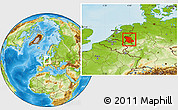 Physical Location Map of Düsseldorf