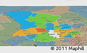 Political Panoramic Map of Düsseldorf, semi-desaturated