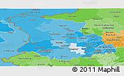 Political Shades Panoramic Map of Düsseldorf