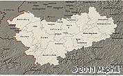 Shaded Relief 3D Map of Köln, darken