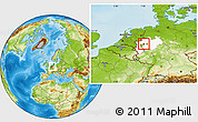 Physical Location Map of Gelsenkirchen, highlighted grandparent region