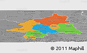 Political Panoramic Map of Münster, desaturated
