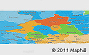 Political Panoramic Map of Münster, political shades outside