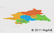 Political Panoramic Map of Münster, single color outside