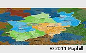 Political Panoramic Map of Nordrhein-Westfalen, darken
